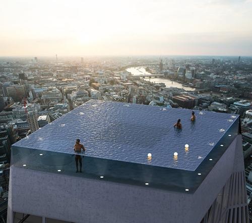 V Londýně vyroste Infinity Pool, nekonečný střešní bazén se vstupem jako v ponorce