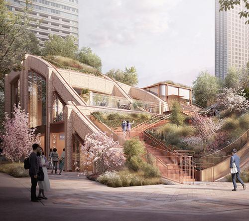 Heatherwick Studio představilo návrh obrovské zelené pergoly v Tokiu
