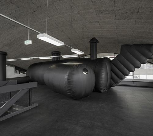 Švýcarské studio BUREAU A navrhlo nafukovací bar s klubem