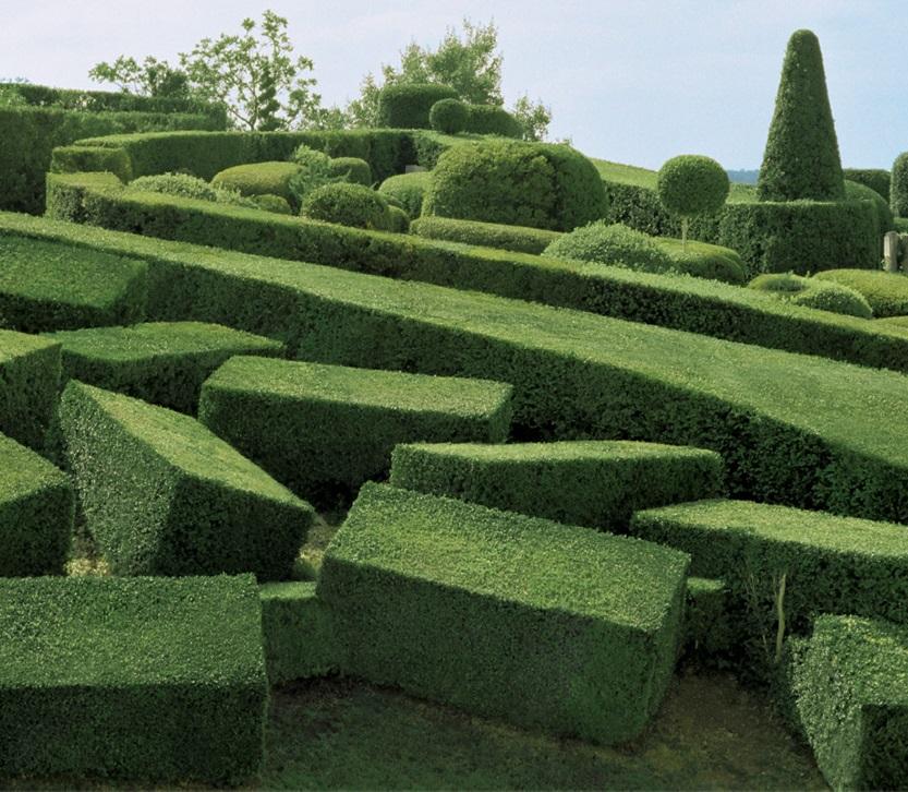 Surreální formy ve francouzských Marqueyssac Topiary Gardens
