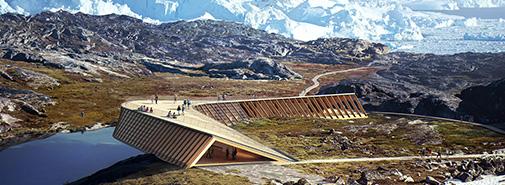 Dánské studio Dorte Mandrup vyhrálo soutěž na stavbu grónského Icefjord Centre