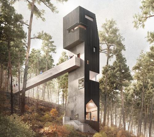 Studio Denizen Works navrhlo pro botanickou zahradu ve Skotsku vyhlídkovou věž inspirovanou abstraktním stromem