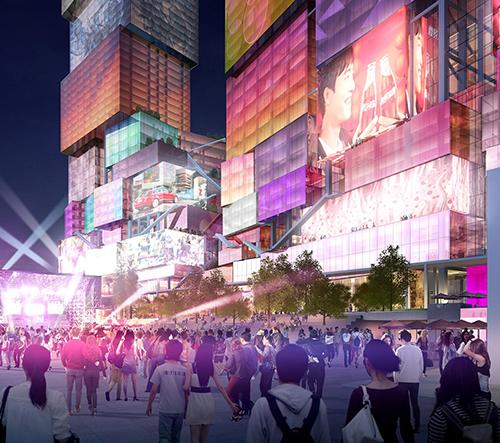 MVRDV navrhli pro Tchaj-pej psychedelické mrakodrapy z bloků s digitální fasádou