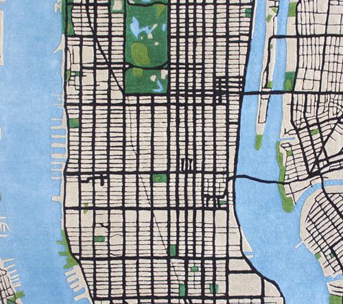 Plyšový koberec vytváří mapu Manhattanu